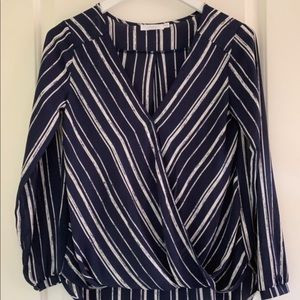 Navy and white stripe blouse